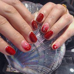 红色短指甲新娘美甲图片