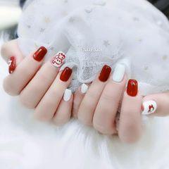 红色手绘花朵送你一朵小红花美甲图片