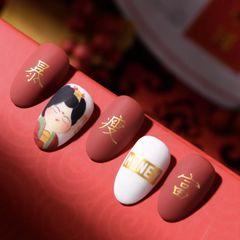 红色尖形短指甲新娘上班族简约夏天美甲图片