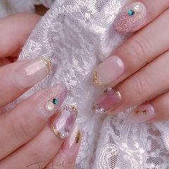 圆形渐变新娘施华洛世奇日式珍珠砂糖粉粉色白色美甲图片