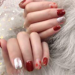 方圆形晕染焦糖色红色新年美甲图片