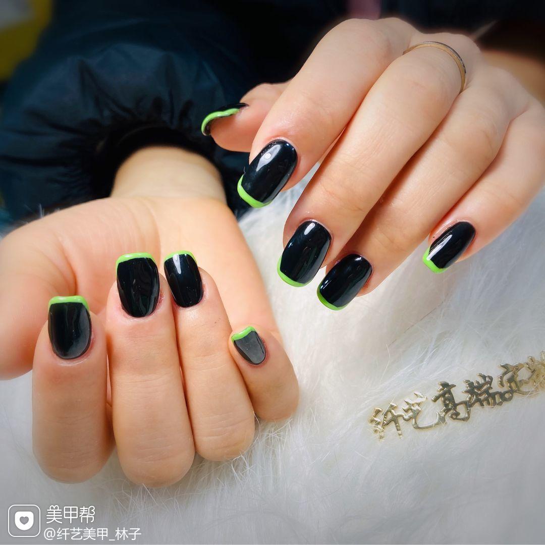 方圆形短指甲法式荧光绿法式美甲美甲图片