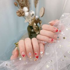 裸色红色尖形夏天波点新娘简约蝴蝶结美甲图片