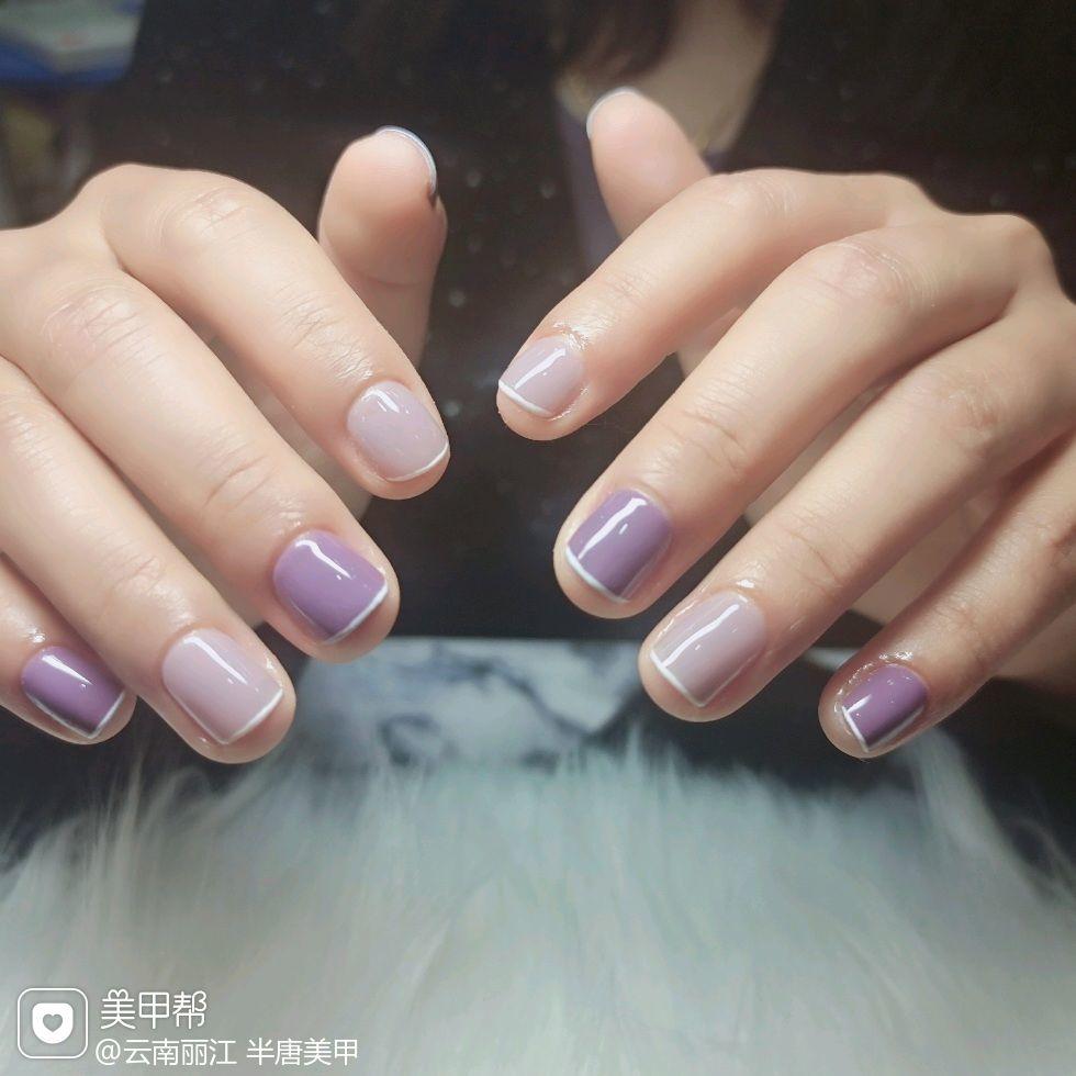 紫色方圆形短指甲简约跳色法式来个短甲款美甲图片