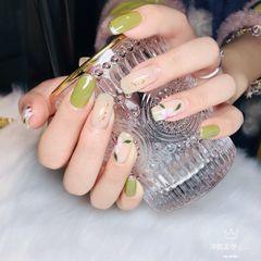 绿色小清新美甲美甲图片