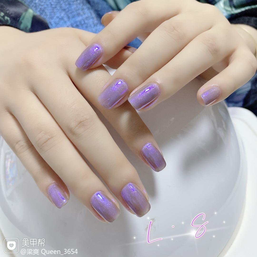 方圆形紫色美甲图片