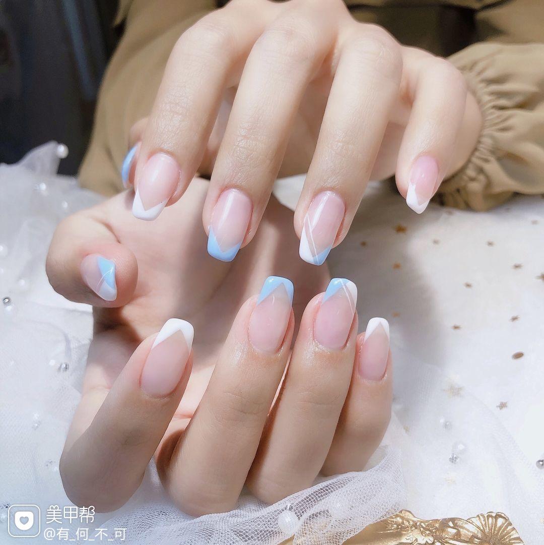 蓝色夏天简约上班族手绘日式法式美甲图片
