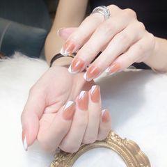 银色方形夏天手绘日式法式美甲图片
