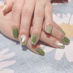 绿色珍珠清爽型,很适合夏天美甲图片