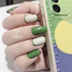 绿色方圆形夏天美甲图片