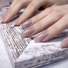 裸色方形短指甲上班族新娘简约法式美甲图片