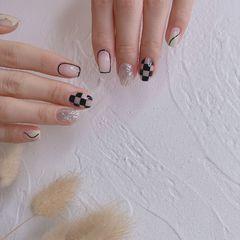 方圆形夏天短指甲格纹简约美甲图片