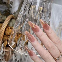裸色异形上班族新娘简约金箔玻璃纸美甲图片