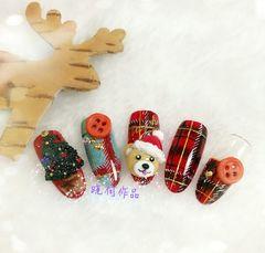 格纹手绘可爱小熊立体雕花圣诞美图达人晓何圣诞美甲美甲图片
