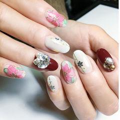 圆形红色白色粉色手绘花朵钻珍珠日式美甲图片