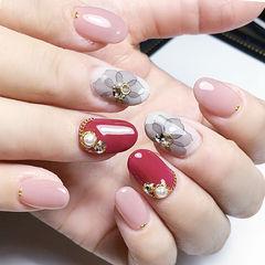 圆形红色粉色白色灰色手绘花朵钻珍珠日式美甲图片