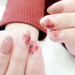 圆形裸色红色手绘花朵简约日式新年热门款2018预热款早春花卉美甲美甲图片