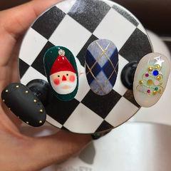 圆形黑色红色蓝色白色墨绿色金属饰品菱形圣诞磨砂手绘可爱美甲图片