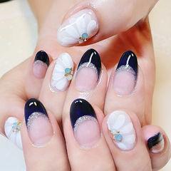 圆形蓝色白色手绘花朵法式日式美甲图片