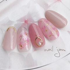 圆形粉色晕染裸色金箔贝壳片金属饰品日式美甲图片