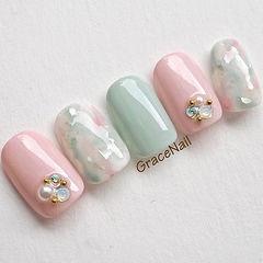 方圆形粉色绿色晕染钻珍珠日式春天美甲样板集春季流行色美甲图片
