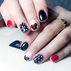 方圆形黑色红色白色手绘可爱米奇波点学生学生党美甲米奇美甲波点美甲美甲图片