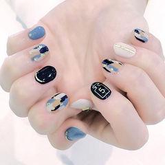 圆形黑色蓝色晕染白色金箔日式美甲图片