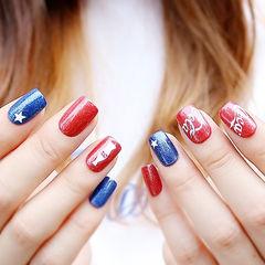 方圆形红色蓝色手绘夏天可乐可乐美甲美甲图片