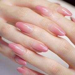 圆形粉色渐变简约上班族新娘美甲图片