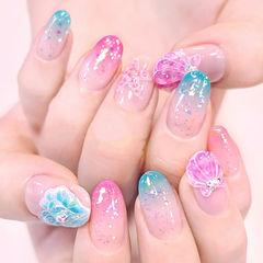 圆形粉色蓝色渐变手绘贝壳夏天日式美甲图片