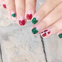 方圆形红色绿色心形法式手绘可爱夏天水果西瓜美甲图片
