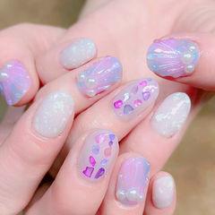 圆形紫色蓝色白色贝壳片珍珠夏天日式美甲图片