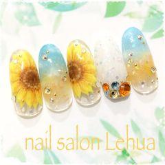 圆形蓝色黄色钻手绘花朵向日葵夏天美甲图片