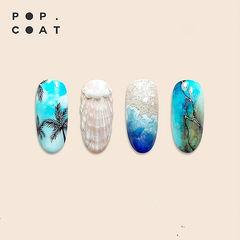 圆形蓝色裸色黑色手绘夏天贝壳椰树石纹晕染美甲图片