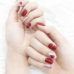 方圆形红色白色手绘心形新娘线条美甲图片