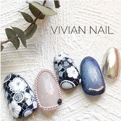 圆形粉色蓝色白色手绘花朵饰品日式美甲图片
