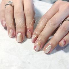 方圆形粉色裸色白色晕染金箔简约分享ins美图美甲图片