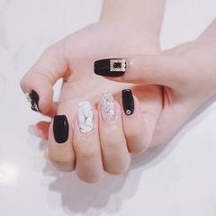 方圆形黑色白色手绘晕染贝壳片珍珠石纹简约美甲图片