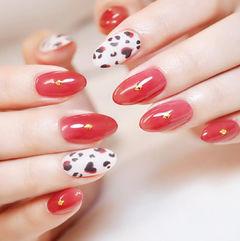 圆形红色白色黑色手绘豹纹美甲图片