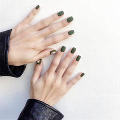 方圆形绿色磨砂钻简约本周收藏量最高美甲图片