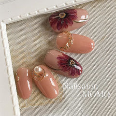 圆形裸色红色橙色手绘花朵日式珍珠金属饰品美甲图片