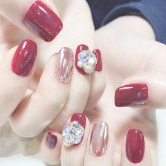 方圆形红色镜面珍珠钻新娘镜面美甲美甲图片