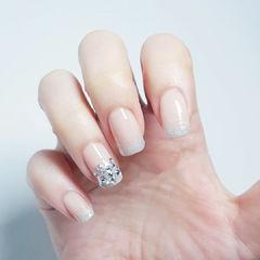 方圆形银色裸色钻渐变新娘简约闪亮镶钻款美甲图片
