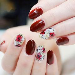 圆形红色手绘花朵新娘日式美甲图片