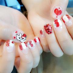 方圆形红色白色手绘可爱兔子心形亮片美甲图片