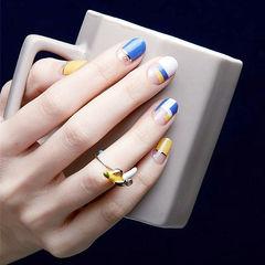 圆形蓝色黄色白色金银线平法式美甲图片