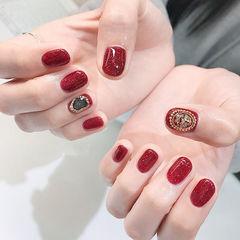 方圆形红色贝壳片金属饰品新年金属饰品美甲美甲图片