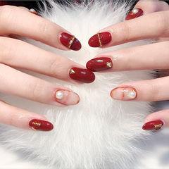 圆形红色晕染珍珠金属饰品新年新娘金属饰品美甲美甲图片
