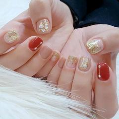 裸色红色贝壳简约日式钻韩式圆形红色贝壳款美甲图片