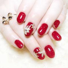 圆形红色金色手绘花朵新娘新年包边手绘美甲美甲图片